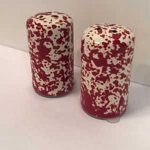 Salt & Pepper Shakers Set Red & White Speckled